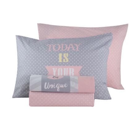 Σεντόνια μονά σετ 3(τμχ) 160x260 Today is your day Pink Teens Collection - Nef-Nef