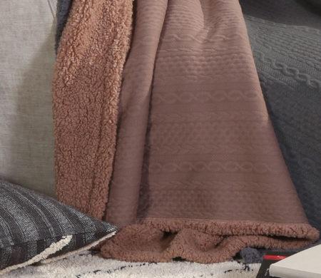Κουβέρτα καναπέ με γουνάκι 130x170 Tress Beige Living Collection - Nef-Nef