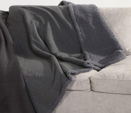 Κουβέρτα καναπέ με γουνάκι 130x170 Tress Grey Living Collection - Nef-Nef