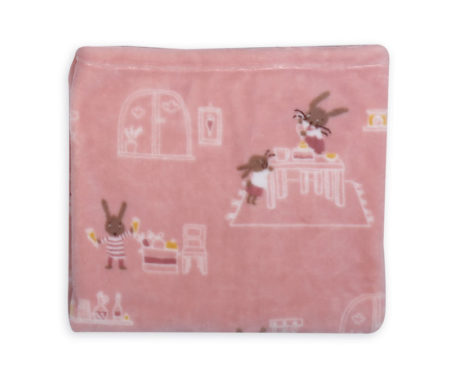Κουβέρτα κούνιας 110x140 fleece Rabbit in the house Baby Collection - Nef-Nef