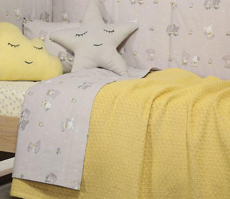 Κουβέρτα κούνιας 110x150 Smooth mustard Baby Collection - Nef-Nef