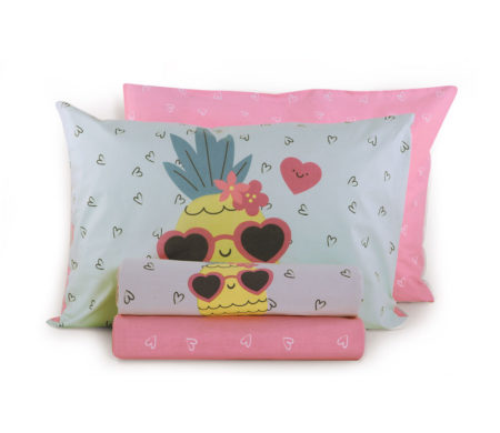 Σεντόνια μονά 160x260 σετ 3(τμχ) Pineapple dream Junior Collection - Nef-Nef