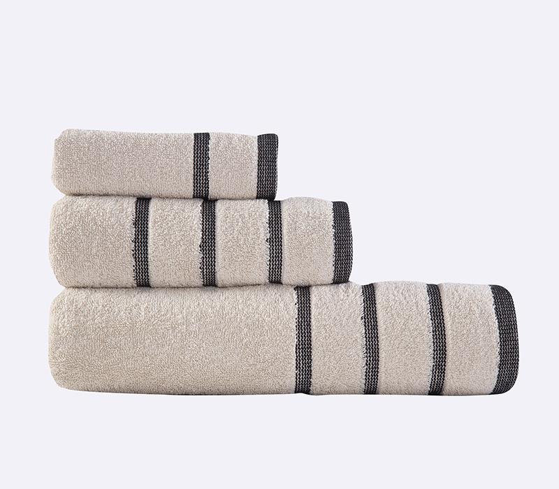 Πετσέτες Σετ (3τμχ) Madison Beige/Black Bath collection - Nef-Nef