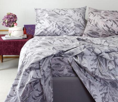 Μαξιλαροθήκες (Σετ 2 τμχ) 50*70 Melinen Brooks Κατωσέντονο Grey-Lilac
