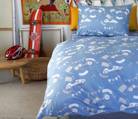 Παιδικές μαξιλαροθήκες (Σετ 52Χ72) Melinen Race Blue