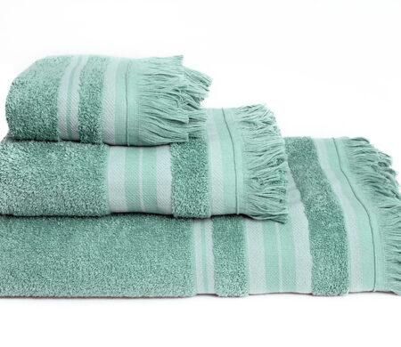 Πετσέτες Μπάνιου (Σετ 3τμχ) Melinen Yoga Ριγέ Aqua