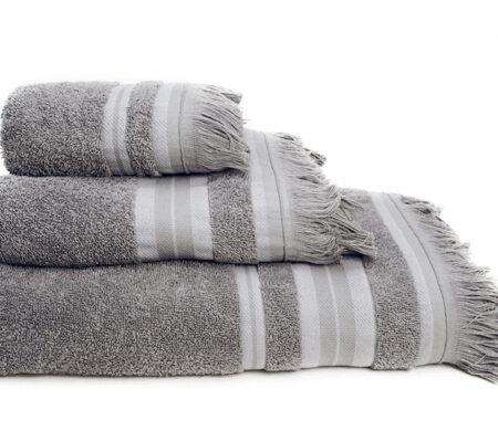 Πετσέτες Μπάνιου (Σετ 3τμχ) Melinen Yoga Ριγέ Grey