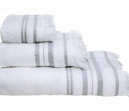 Πετσέτες Μπάνιου (Σετ 3τμχ) Melinen Yoga Ριγέ White