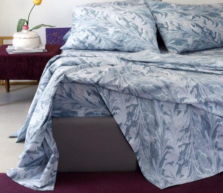 Μαξιλαροθήκες (Σετ 2 τμχ) 50*70 Melinen Brooks Κατωσέντονο Blue